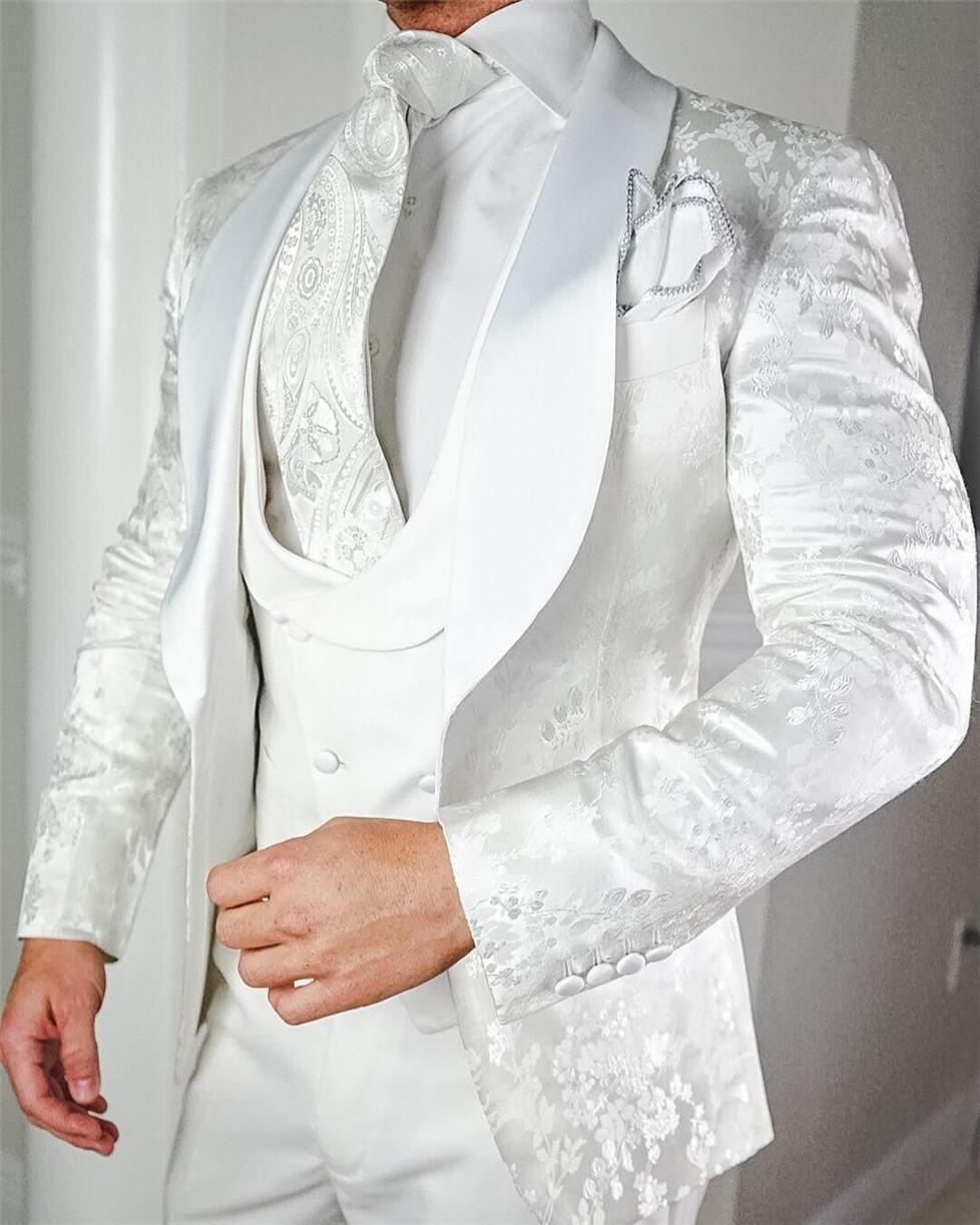 New Arrival One Button Groomsmen Shawl Lapel Groom Tuxedos Men Suits Wedding/Prom Best Man Blazer ( Jacket+Pants+Vest+Tie) B144