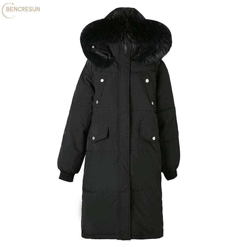 Корейская длинная прямая Зимняя парка, повседневная женская однотонная миди-парка с глубокими карманами и меховым капюшоном, стильная верх...