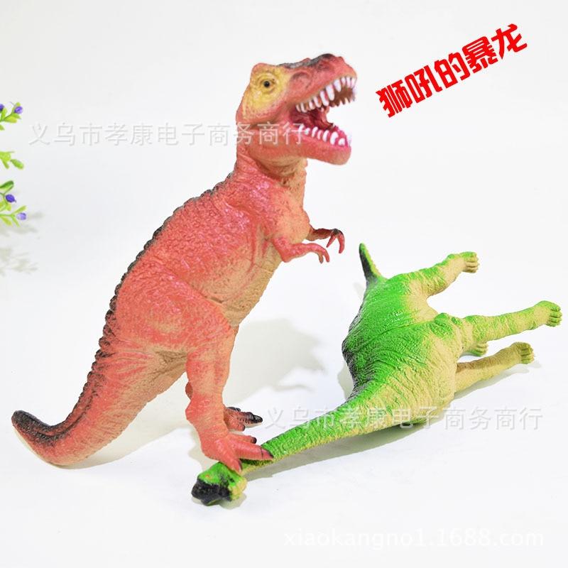 Modelos de dinosaurio simulados de tamaño grande 6-Fabricación de sonido t-rex Stegosaurus juguetes de plástico y modelo de goma