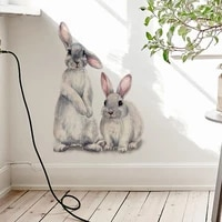 two cute rabbits childrens room wall stickers home decoration removable wallpaper living room bedroom decoration rabbit stickers