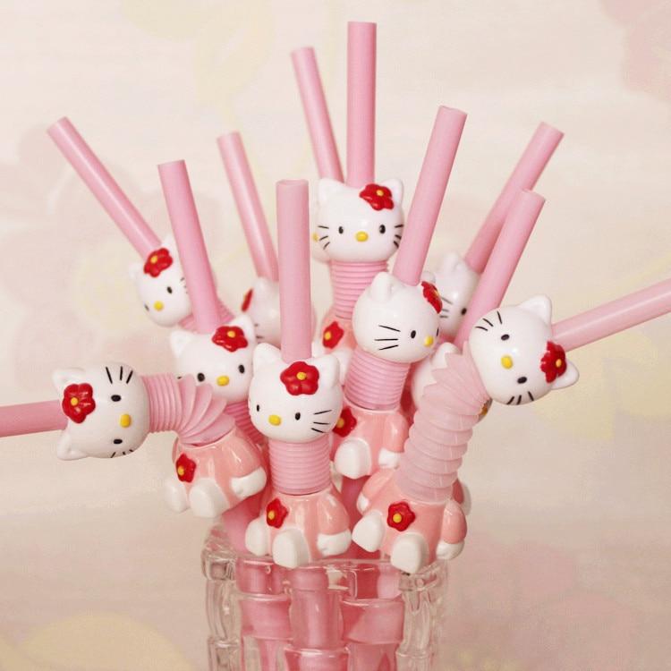 2 piezas Super lindo Hello Kitty retráctil curvado dibujos animados paja Rosa kt beber paja
