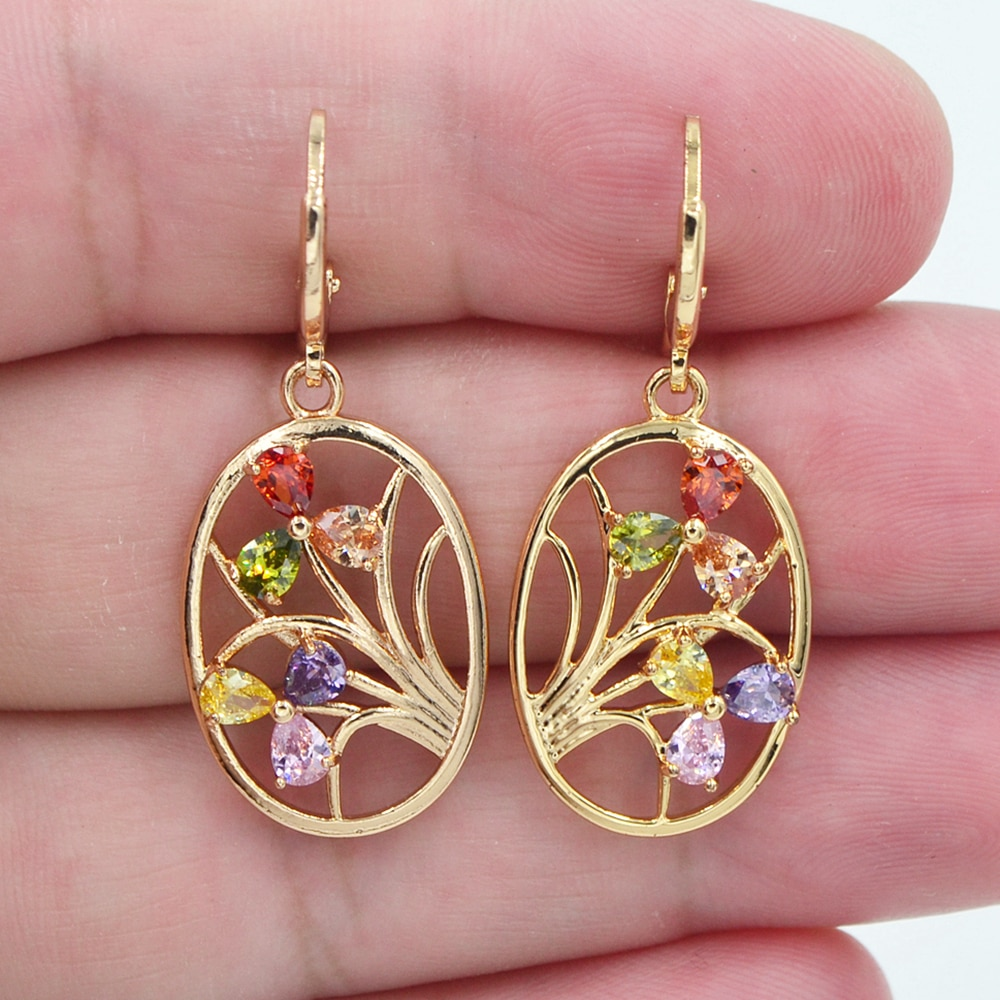 Модные ювелирные изделия Золотой, цветной CZ Циркон овальная Ваза Висячие серьги для женщин