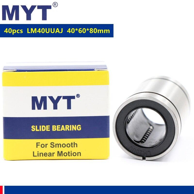 40 قطعة MYT عالية الدقة LM40UUAJ AJ 40x60x80 ملليمتر تعديل نوع الحركة الخطية تحمل ل أجزاء طابعة ثلاثية الأبعاد باستخدام الحاسب الآلي LM40UU-AJ