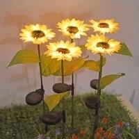 led sunflower lawn light solar light outdoor waterproof garden courtyard park path corridor lawn decorative lighting lamp 2pcs