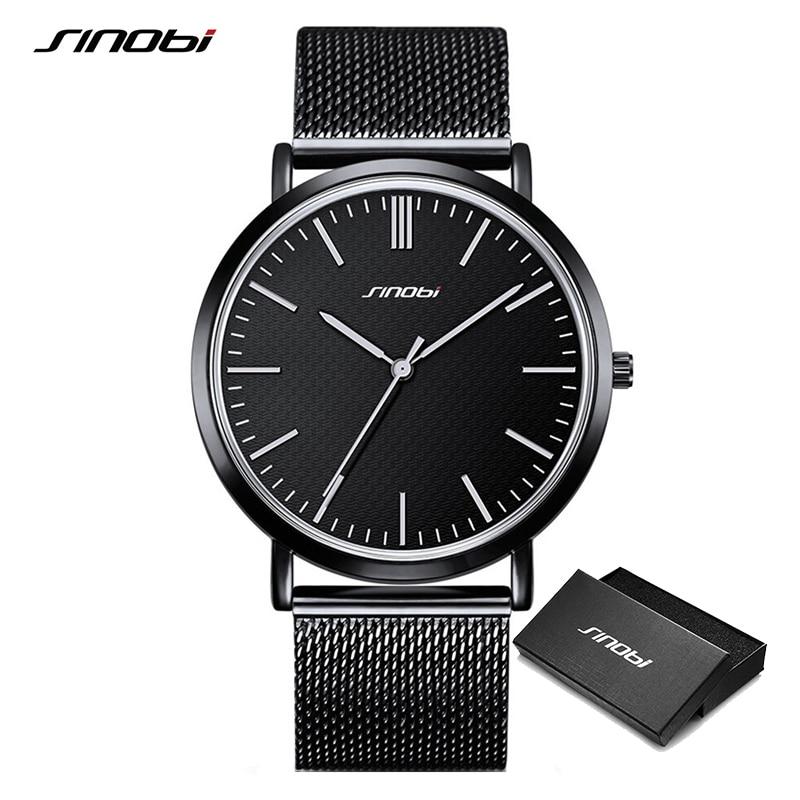 Sinobi Unisex Fashion Ultra Thin Watches Simple Men Business Stainless Steel Mesh Belt Quartz Watch Lady Clock Relogio Masculino