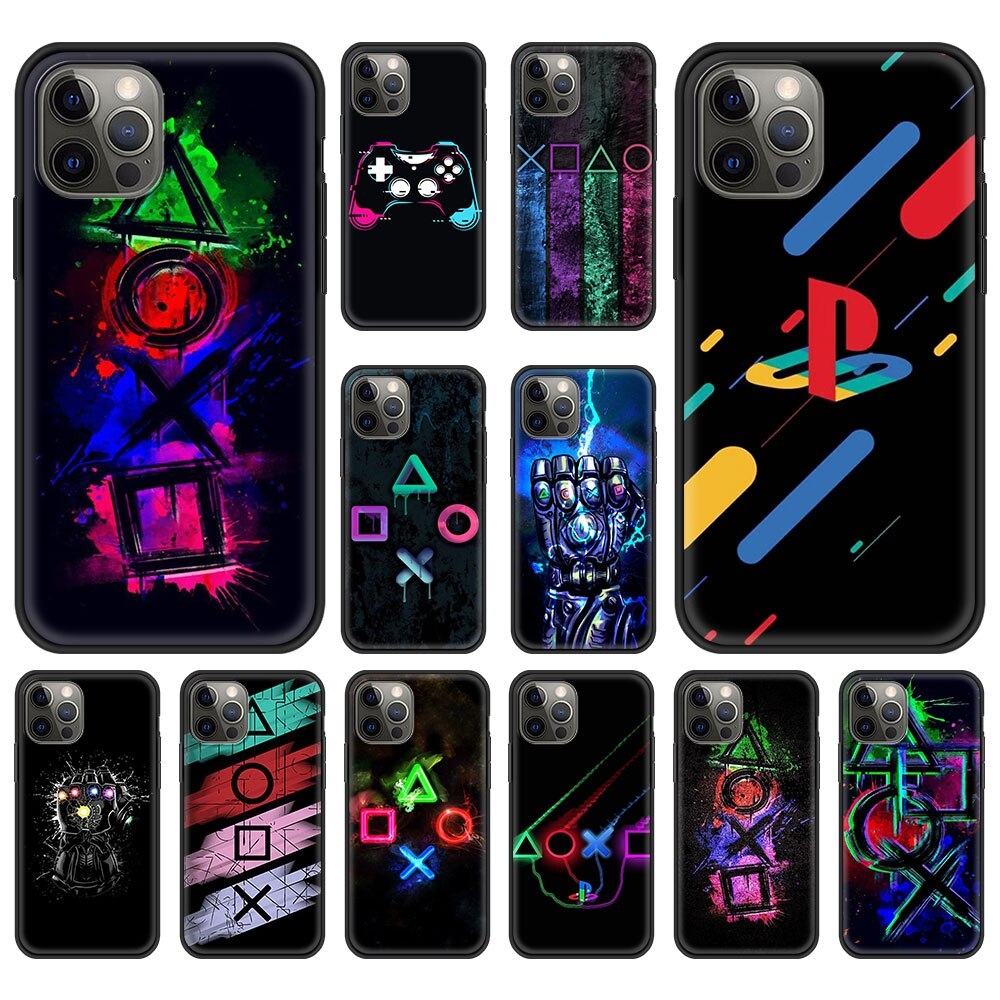 ps5 Hot game P-PlayStation Luxury Phone Case For iPhone 13 12 11 Pro MAX XR X SE XS 7 8 Plus Soft Silicone Black Matte Cover