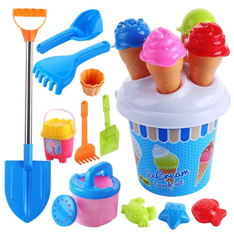 Conjunto do molde da areia da série do gelado e do bolo dos brinquedos da praia, conjunto 13 dos brinquedos da parte