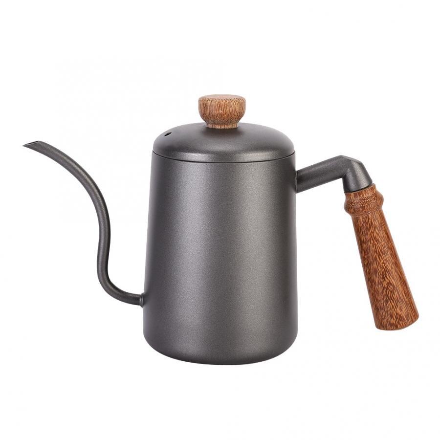 600 مللي الفولاذ المقاوم للصدأ الرجعية اليد القهوة الشاي المياه ضيق الفم وعاء مع مقبض خشبي غلاية قهوة