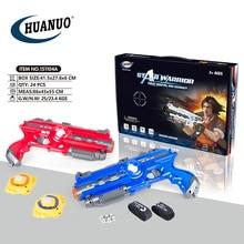 HUANUO kızılötesi lazer etiketi oyun seti 2 mavi kırmızı kızılötesi lazer silahi kapalı ve açık hava etkinliği oyuncak tabanca çocuklar için