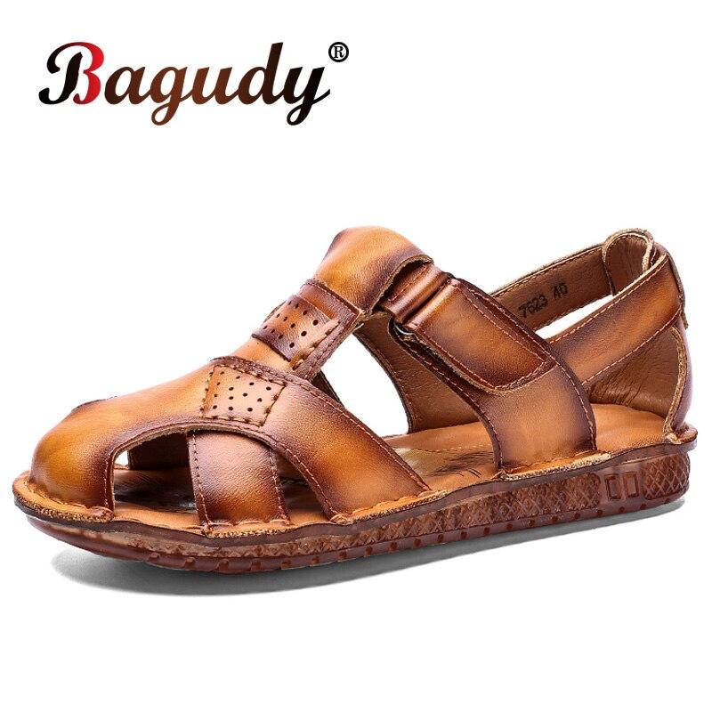 صندل كلاسيكي من الجلد الطبيعي الناعم للرجال ، أحذية صيفية ، أحذية خارجية ، كاجوال ، جلد طبيعي ، مقاس 38 ~ 48