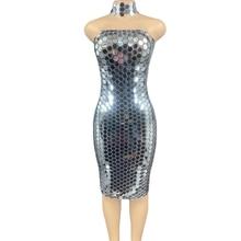Mode argent Sequin bretelles robe moulante anniversaire célébration gaine robe femmes fête Banquet robe Sexy danse scène vêtements