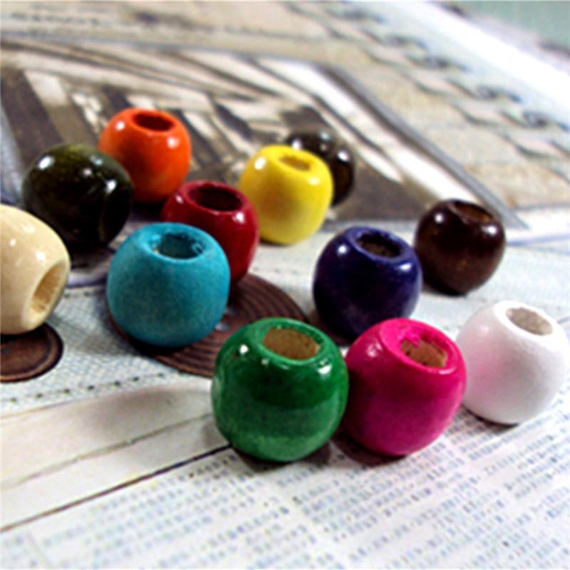 50 unids/lote de cuentas de madera con agujero grande de 12mm para hacer pulseras DIY, collar, cuentas sueltas, accesorios de joyería