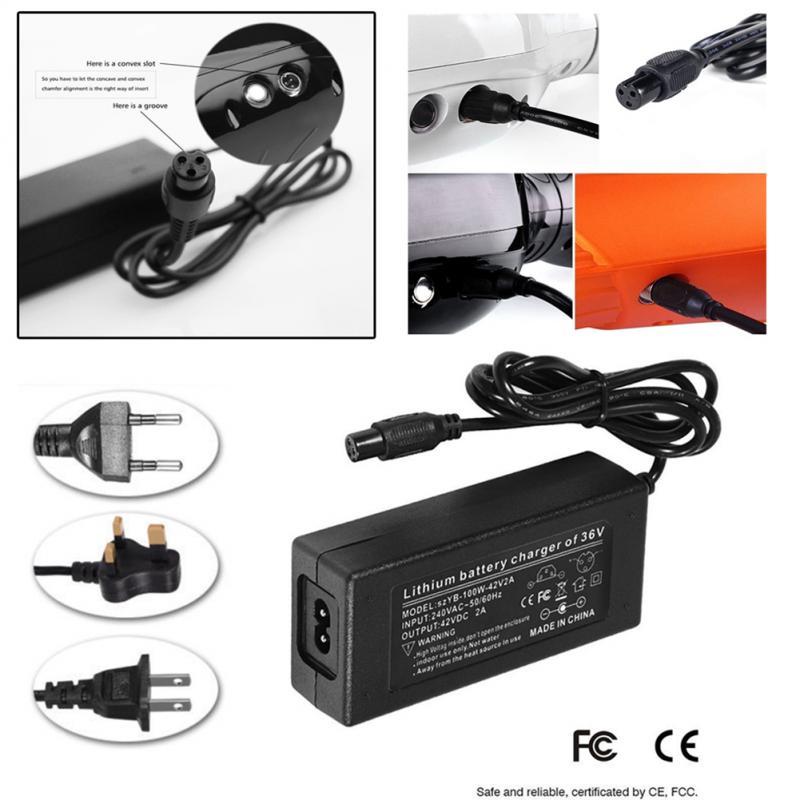 Fuente de alimentación de CC 42V 2A adaptador de corriente Universal Multi equilibrio para coche adaptador de corriente de Scooter eléctrico cargador enchufe de Reino Unido enchufe de EE. UU. Enchufe de la UE