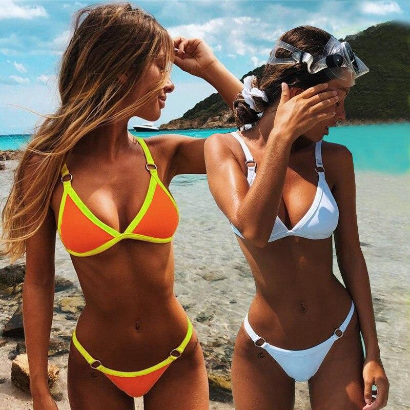 new crossed chest bikini set micro swimsuit women bikini 2021 sexy swimwear halter bandage bathing suit solid brazilian biquini Push Up Bikini 2020 Sexy Swimsuit Swimwear Female Solid Thong Brazilian Mini Micro Bikini Set Biquini Bathing Suit Women
