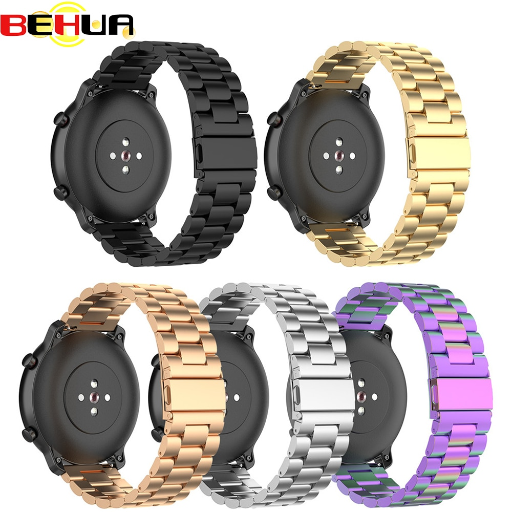 22mm bracelet strap for xiaomi huami amazfit pace stratos 2 gtr 47mm band for samsung gear s3 pulsera for huawei 2 pro gt correa 22mm Stainless Steel Metal Strap For Xiaomi Amazfit Stratos 2 Stratos 3 Bracelet 22mm Bands for Huami GTR 47MM Watch Band Straps