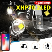7000 Lumen XHP-70.2 Led Koplamp Vissen Camping Koplamp High Power Lantern Head Lamp Zoomable Usb Fakkels Zaklamp 18650