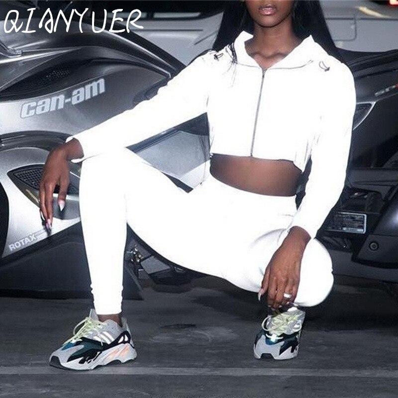 Hip-hop roupas de rua 2 moda feminina reflexiva roupas recortadas calças de topo terno roupas de jogo estilos de roupas de clube