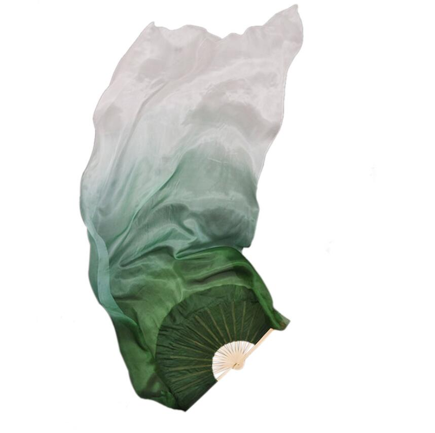 Novo personalizado verde escuro branco véu de seda dança do ventre ventilador pares (1l + 1r) feminino dança oriental mostrar adereços 180cm