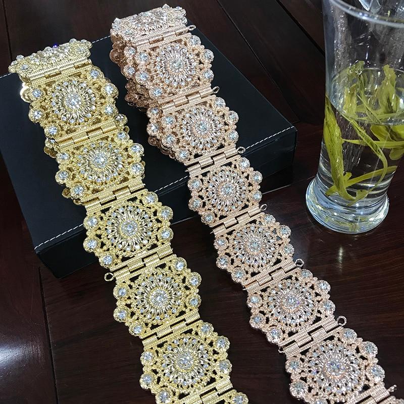 حزام ذهبي بأكمام طويلة ، مجوهرات الزفاف الجزائري ، سلسلة معدنية مرصعة بالألماس ، هدية مجوهرات الزفاف الأوروبية