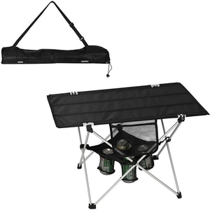 Folding Camping Table Ultralight Outdoor Beach BBQ Picnic Fishing Table with Cup Holders and Carry Bag