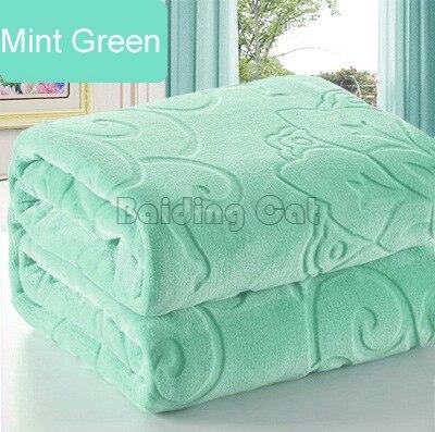 Nueva manta de franela verde menta invierno cálido suave y grueso gran colcha de lana Coral Multi tamaño como sábana de cama manta Floral de lujo
