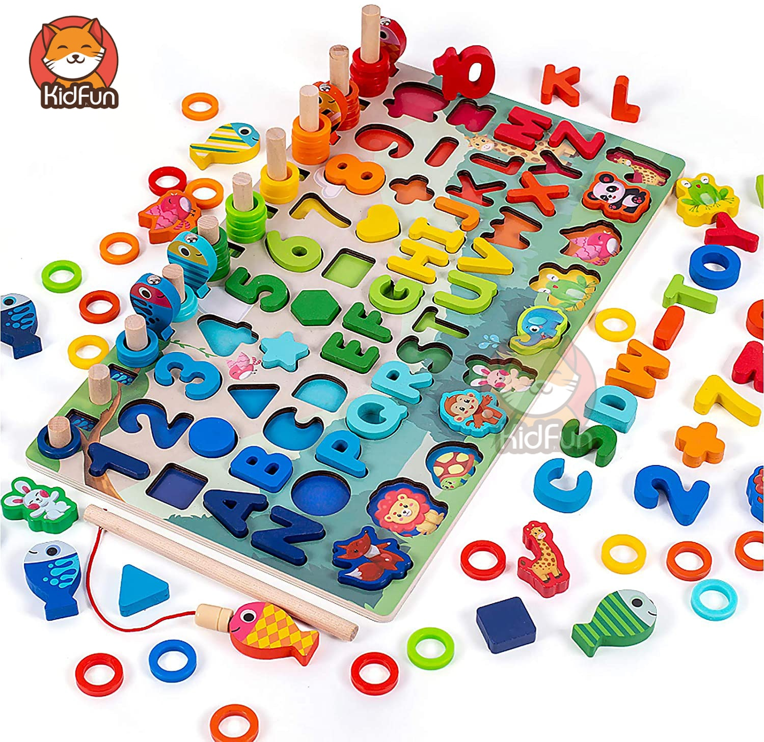 Montessori Toys Educational Wooden Toys for Kids Babies Montessori Toys Board Math Fishing Game Montessori Toys for 1 2 3 Years