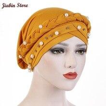 2020 casquette Style africain chapeaux casquette Style africain musulman Turban cheveux accessoires mode femmes solide tressé Bandanas chapeaux