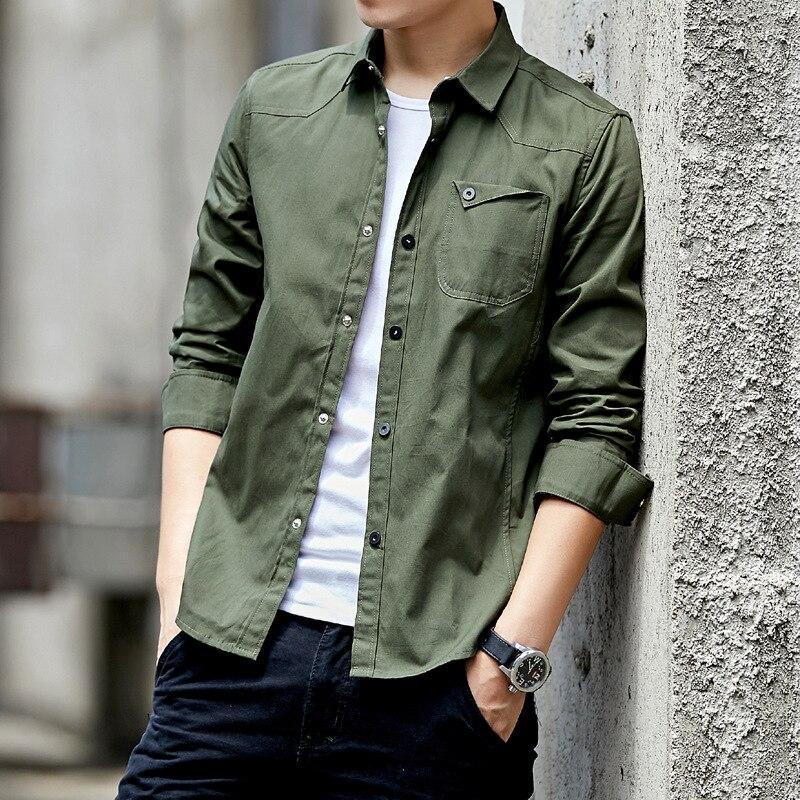 Мужская хлопковая рубашка в стиле милитари, зеленая приталенная рубашка с карманами и длинными рукавами, винтажная куртка в стиле милитари,...