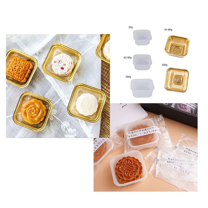 100 adet kare ay kek tepsileri altın beyaz 50/63-80/100g Mooncake paketi kutu konteyner tutucu orta sonbahar festivali hediye