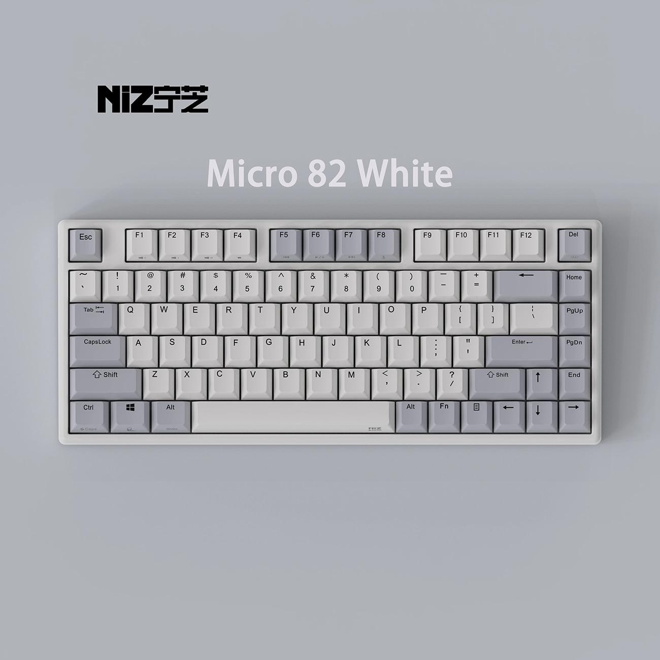 لوحة مفاتيح NIZ Micro 82 رمادي أبيض كهربائي بالسعة EC مناسبة للمكتب ولعب الألعاب