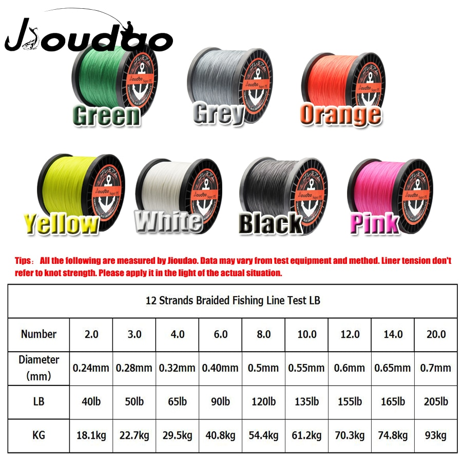 Jioudao 12 Strands 1500M Superior PE Braided Fishing Line Japan Multi Colour Saltwater Fishing Weave Wire 40LB 90LB 120LB 205LB enlarge