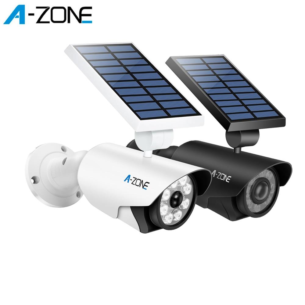 A-ZONE al aire libre luz LED Solar maniquí cámara de seguridad del Sensor de movimiento PIR inalámbrico impermeable Imulation falsa cámara de vigilancia