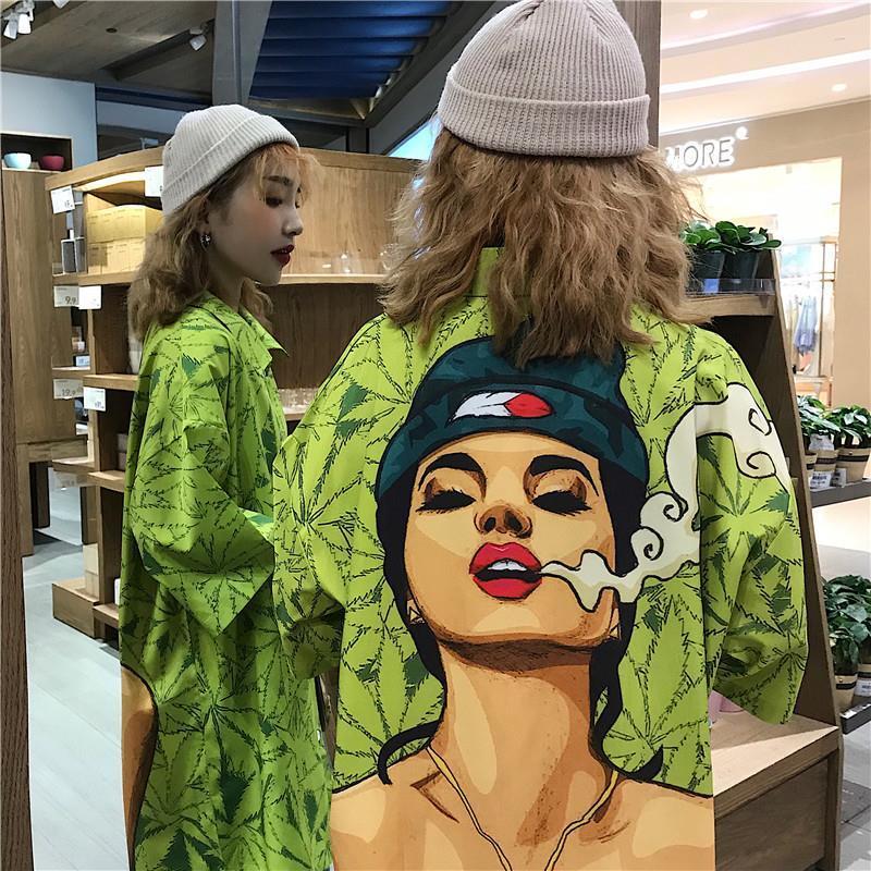 HOUZHOU Women Shirts Printing Hawaiian Beach Shirt Oversize Harajuku Cardigan Elegant Blouses Short Sleeve Street Style Thin Top