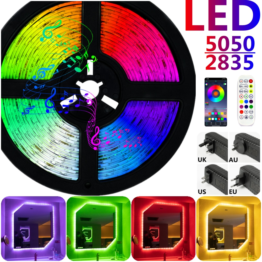 LED Strip Lights Bluetooth RGB 5050 SMD 2835 Waterproof Lamp Flexible Tape Diode luces led Neon 5M 1