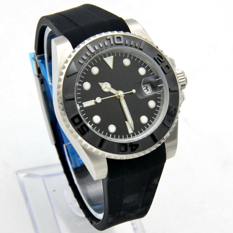 40mm Black No LOGO Dial Luminous Date Ceramic Ring Yacht Automatic Mechanical Watch Rubber Strap enlarge