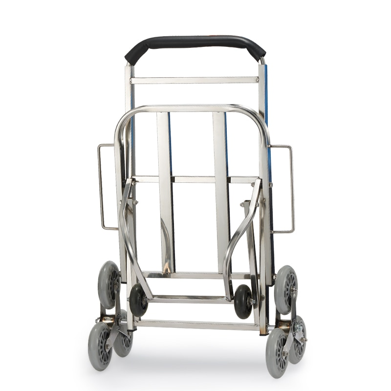 Carrito de compras, carrito de escalada de equipaje de acero inoxidable, carrito plegable portátil, pequeño manejo