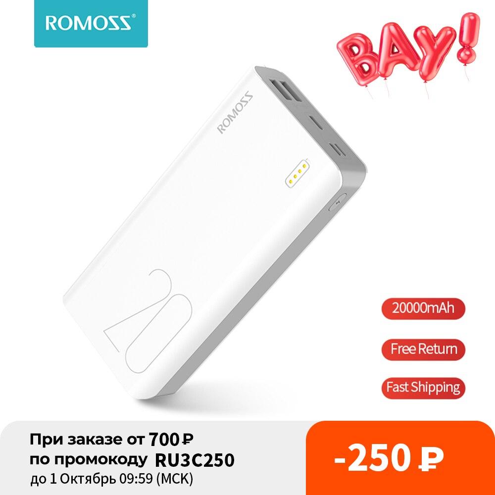 ROMOSS Sense 6S 20000mAh باور بانك USB نوع شاحن محمول بطارية خارجية 5 فولت 2.1A مع شاشة LED للهواتف اللوحية