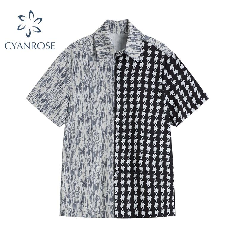 Fashion Patchwork Shirts Women 2021 Summer Fashion Streetwear Vintage Short Sleeve Turn Down Collar Female Casual Blouse Tops