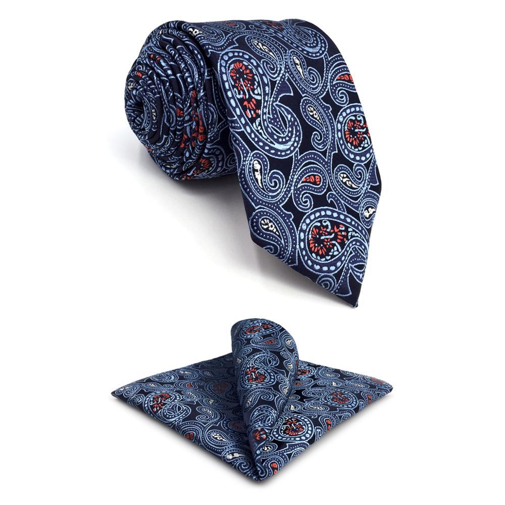 E1 Navy Paisley Men Neckties Set Silk Fashion Dress Ties for male Brand New Wedding Extra long size Hanky