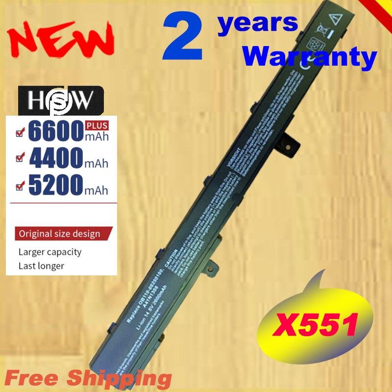 HSW 2600mAh 14,4 V negro A31N1319 batería del ordenador portátil para ASUS A41N1308 A31LJ91 X451 X551 X451C X451M X551C X551M rápido envío
