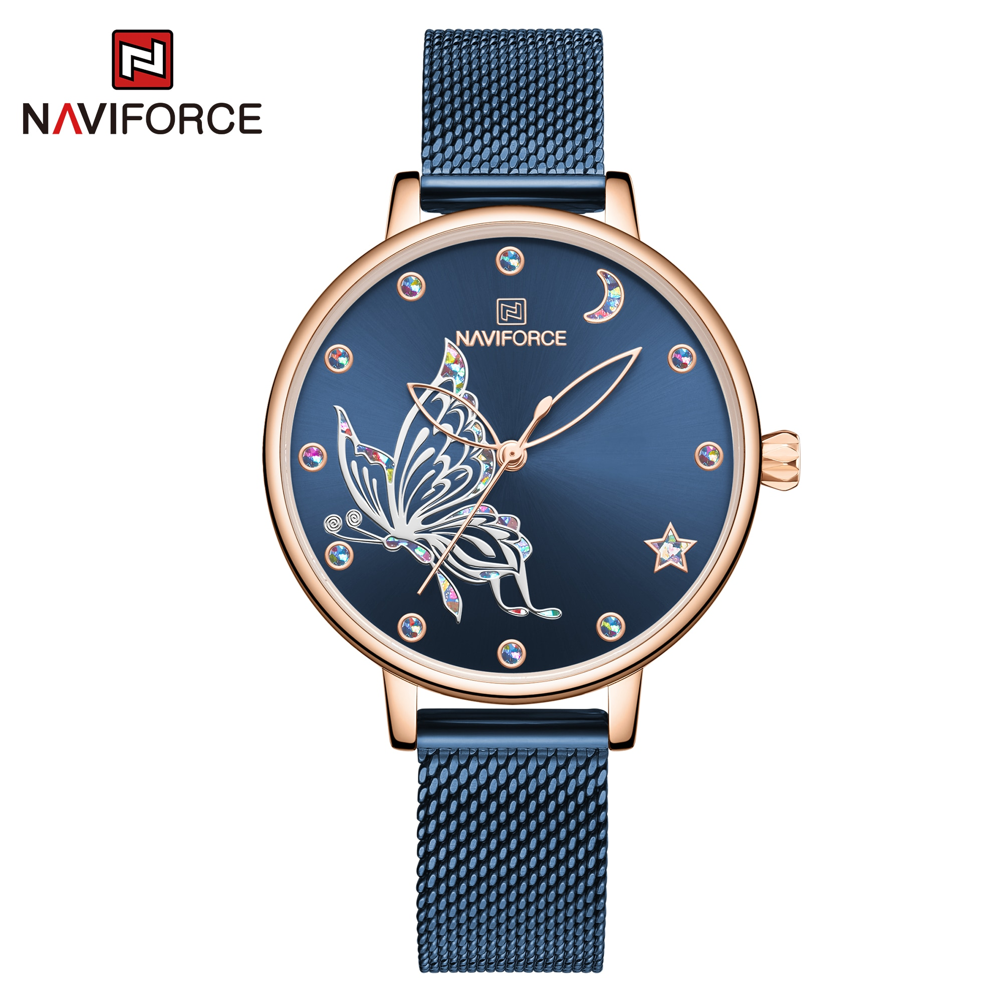 NAVIFORCE Luxury Brand Watch Women Fashion Dress Quartz Ladies Mesh Stainless Steel 3ATM Waterproof Casual Watches for Girl 2020 enlarge