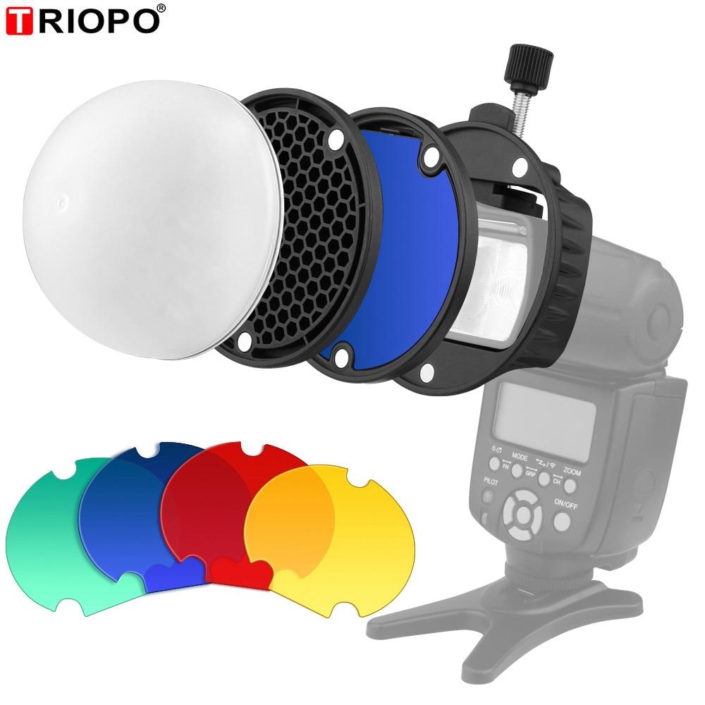 Triopo magdome cor filtro refletor favo de mel difusor bola foto acessórios kits para godox yongnuo flash substituir vs AK-R1