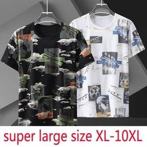 New Arrival Super Large Men Short Sleeve Summer Fashionable Print Casual O-neck Knitted Tshirt Plus Size XL-6XL 7XL 8XL 9XL 10XL