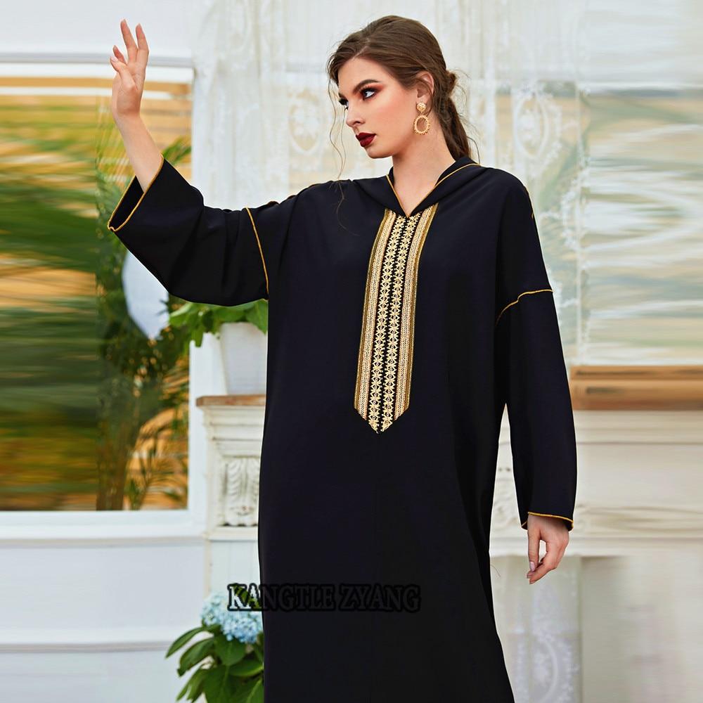 العيد الأسود رداء عباية دبي قفطان تركيا إسلام عربي مسلم فستان الجلابة فام ماكسي فساتين عبايات للنساء قفطان ماروكين