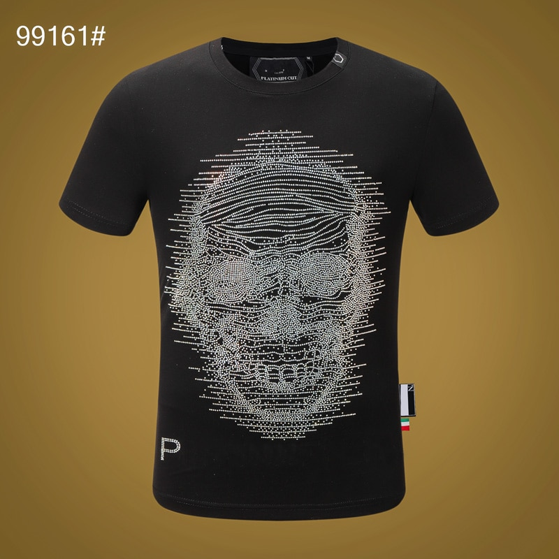 Camiseta de cuello redondo con mangas cortas estampadas con mangas de calavera para hombre, camisetas de moda de algodón de manga corta con calaveras Plein Street, ropa deportiva aaa