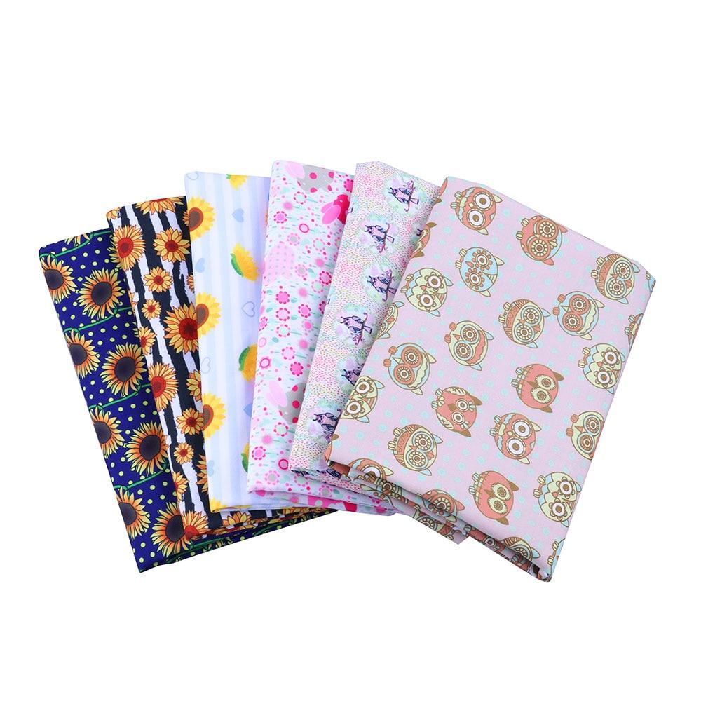 Rubio 50*145CM sunflowe tela de algodón de poliéster patchwork impreso para tejido textil de niños para coser cortina de vestido de muñeca