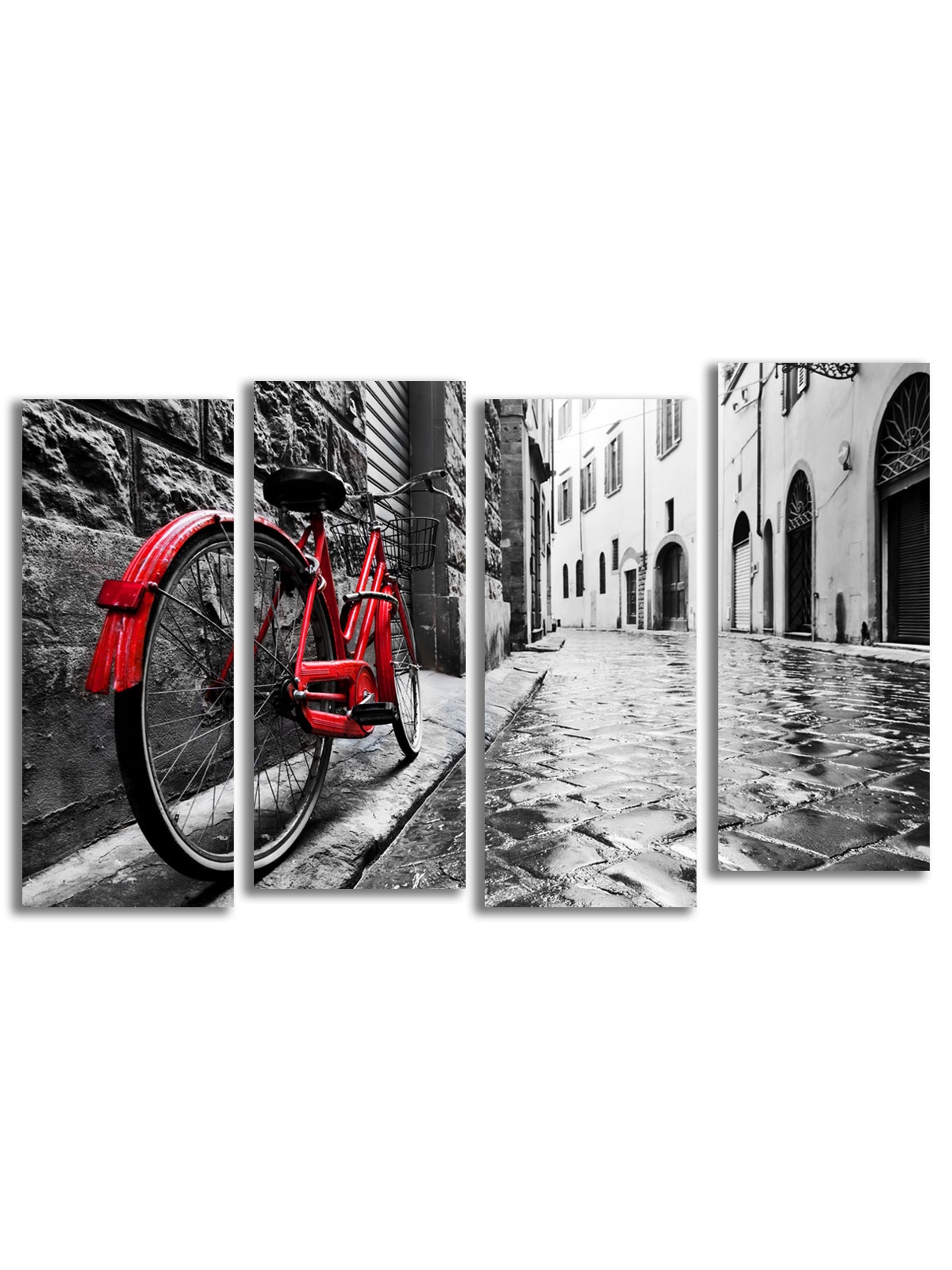 "Lienzo para Pintura modular ""bicicleta roja"" 120x77 cm-4 lienzo"