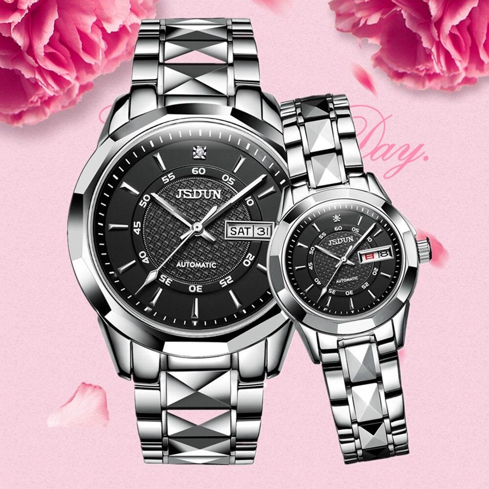 Couple automatic mechanical wristwatch top brand luxury business style tungsten steel watchband waterproof Fashion lover's watch