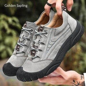 Golden saple couro genuíno dos homens caminhadas sapatos de borracha macia ao ar livre mountain trekking tênis respirável cinza ankle boots