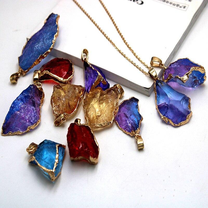 SEDmart ожерелье из натурального камня с радужными кристаллами для мужчин и женщин, Золотая Длинная цепочка, нестандартные геометрические укр...